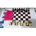 صفحه و مهره شطرنج فدراسیونی چترنگ همراه صفحه قهوه ای